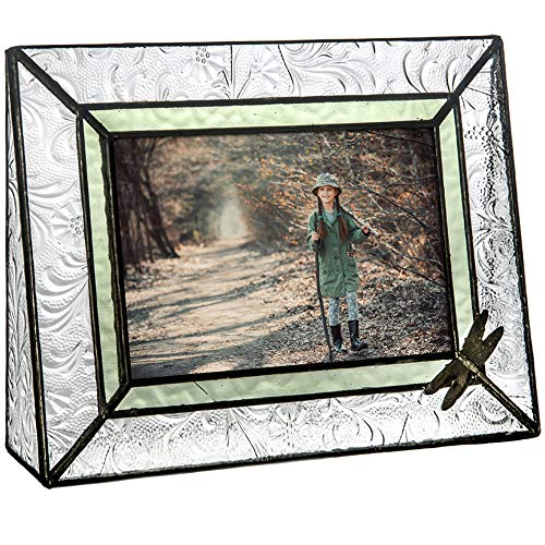 J Devlin Pic 107-46H Dragonfly Picture Frame Tabletop 4x6 Horizontal Photo Frame Sage Green Stained Glass