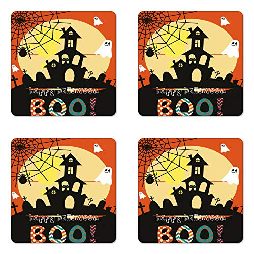 Lunarable Halloween Coaster Set of Four, Haunted House with Cat Tombstones Ghosts and Spider Webs Happy Halloween Boo, Square Hardboard Gloss Coasters for Drinks, Multicolor]()