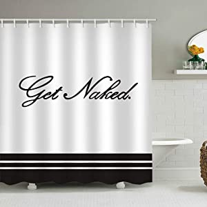White Shower Curtain Handwriting Set Writing Get Naked Black Character Typeface Simple Stripe Bathroom Decor Waterproof Polyester Fabric Accessories Bath