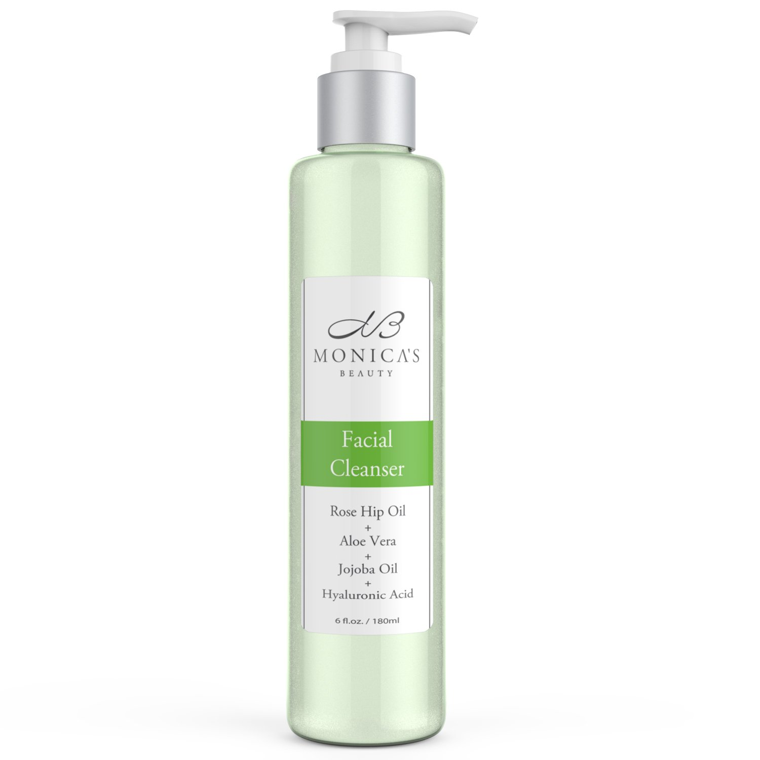 Monica's Beauty Facial Cleanser with Anti-Aging Hyaluronic Acid, Clarifying Tea Tree Oil, and Soothing Aloe Vera, 6 fl. oz.