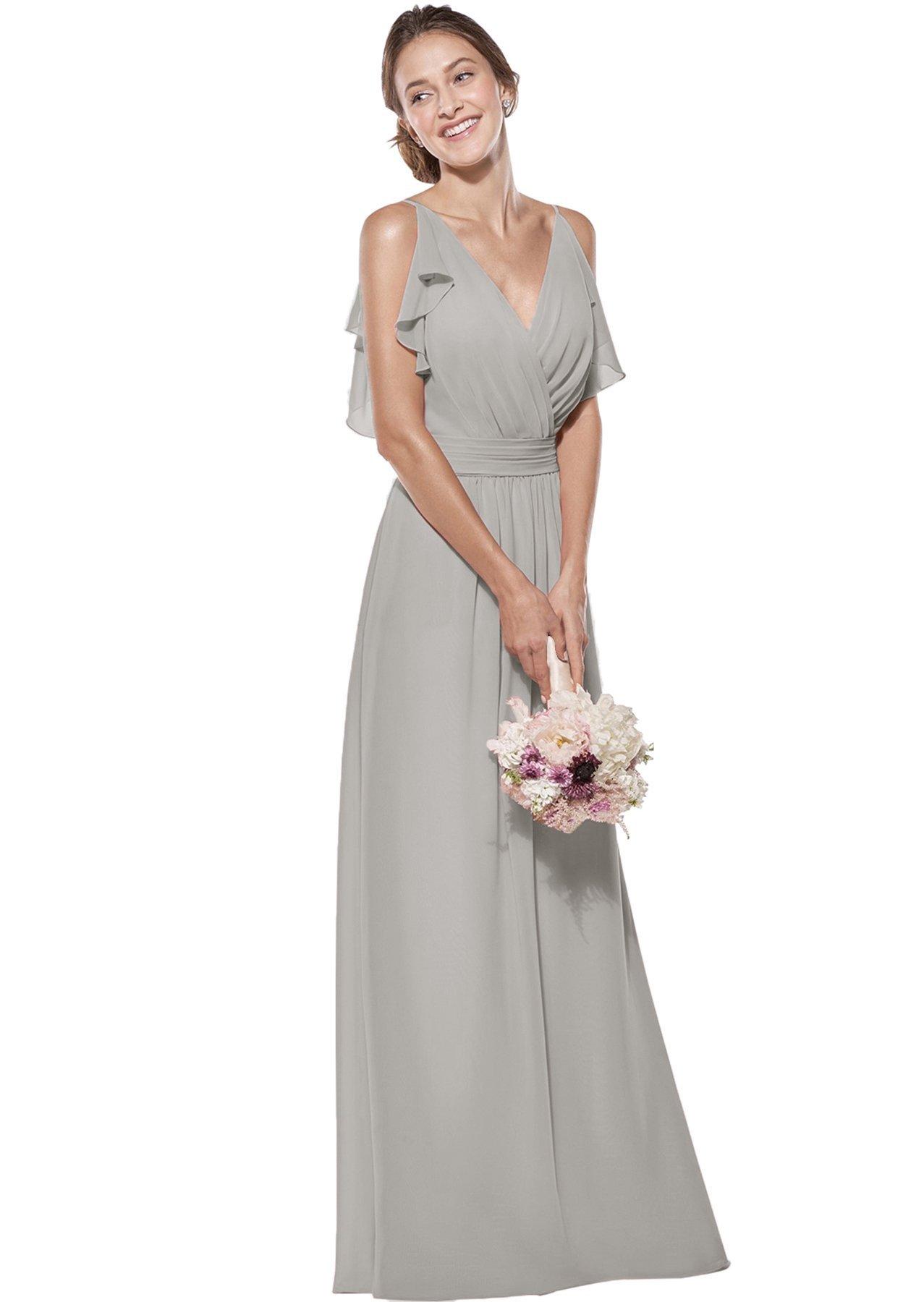 873a8f9f1c2 Zhongde Women s Elegant Floor Length Ruched Straps V Neck Chiffon Long  Bridesmaid Prom Dress Silver Grey Size 10