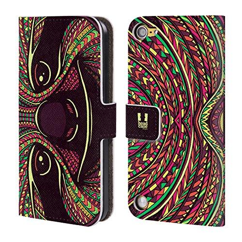 Head Case Designs Ghiro Volti Di Animali Aztechi 2 Cover a portafoglio in pelle per iPod Touch 5th Gen / 6th Gen