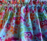 Valance Owls on Light Blue Background Window Treatment Topper Custom Made