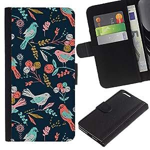 Aves del estampado de flores del papel pintado- la tarjeta de Crédito Slots PU Funda de cuero Monedero caso cubierta de piel Para Apple (5.5 inches!!!) iPhone 6+ Plus / 6S+ Plus