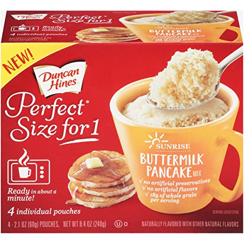 Duncan Hines Perfect Size for 1 Breakfast Muffin & Cake Mix, Ready in About a Minute, Buttermilk Pancake, 4 Individual Pouches