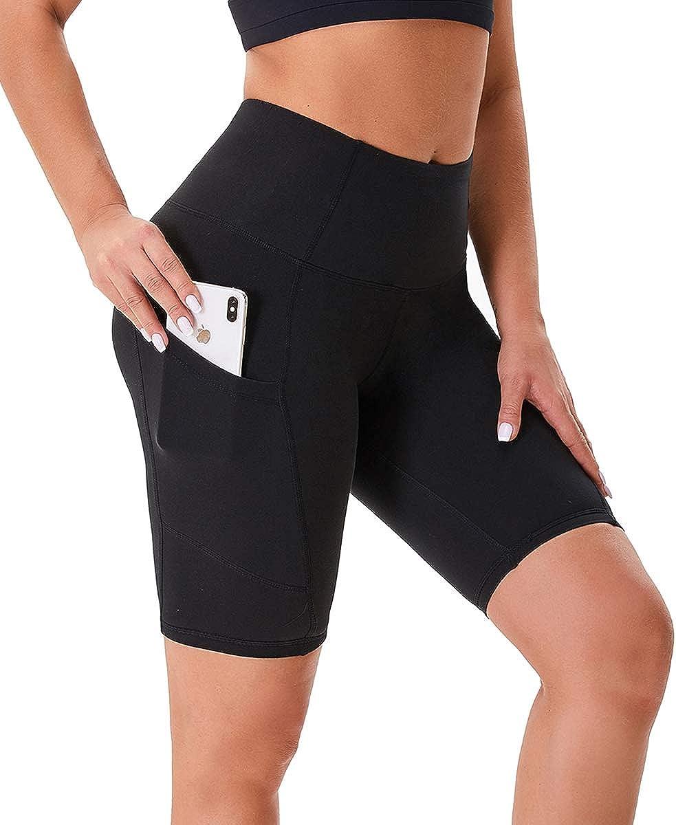 Shorts mit Seitentaschen f/ür Gym Blickdicht Fitness Running HLTPRO High Waist Kurze Sporthose Damen