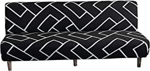 Stretch Futon Slipcover Armless Sofa Bed Cover Spandex Printed Full Folding Sofa Couch Furniture Protector Without Armrests (Black White)