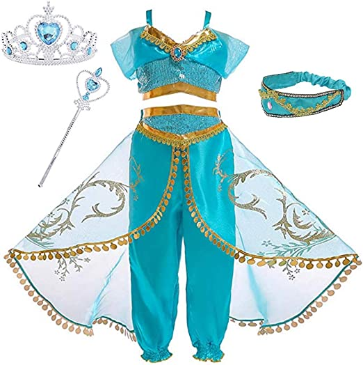 Toddler Girls Halloween Aladdin Princess Jasmine Dress Costume Kids Fancy Dress