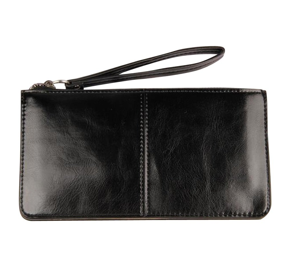 iToolai Women's Solid Color PU Leather Wristlet Clutches Purse Wallet Credit ID Cards Holder,Black