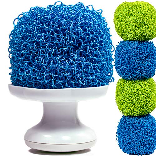 Dish Scrubber Brush With Detachable Handle - Scratch-Free Hard Polyester Sponge Set for Pot, Pan, Plate Scrub - 4 Pack Scourer (Green Blue)