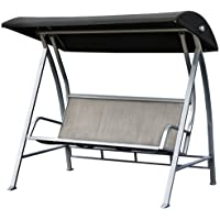 PatioPost Swing Lounge Chair Outdoor Canopy Sling Textilene Chair 3 Seats Porch Patio Furniture
