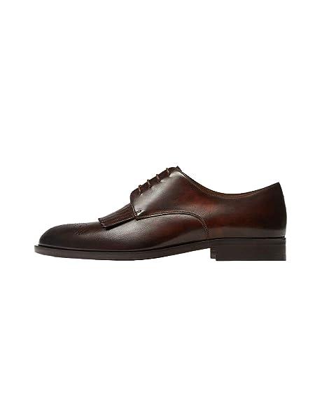 Massimo Dutti - Zapatos de Cordones de Piel para Hombre Marrón marrón Marrón Size: 43 EU | 10 US | 9 UK: Amazon.es: Zapatos y complementos