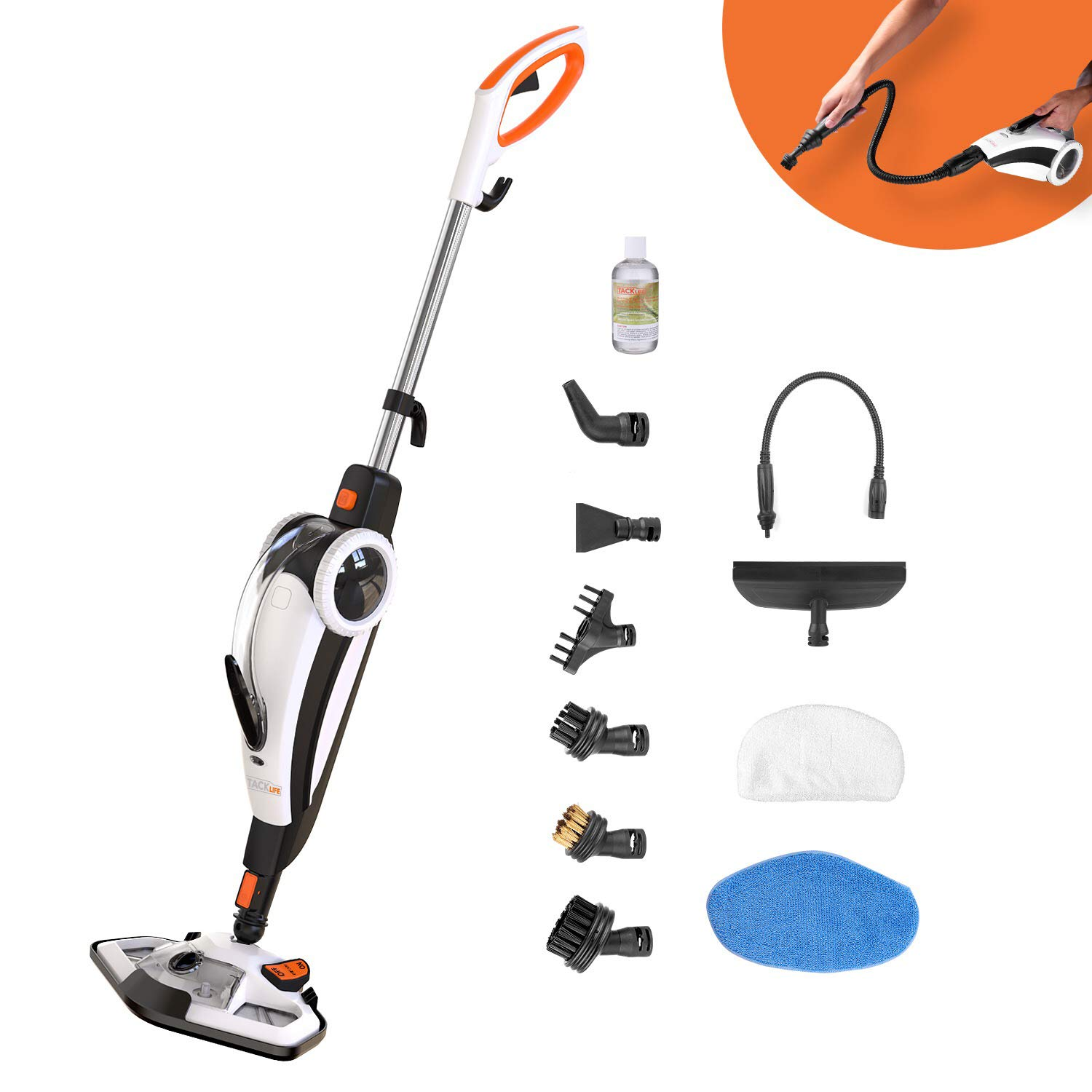 TACKLIFE Steam Mop, Steam Cleaner Multifunction Floor Steamer and Hand-held Steam Floor Mop 2 in 1, 1400W Portable Electric Scrubber Heating in 5s, with 11 Accessories