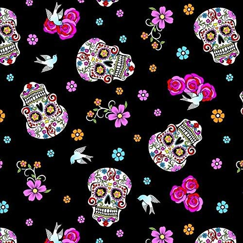 Day of The Dead Black Cotton Fabric by The Yard -