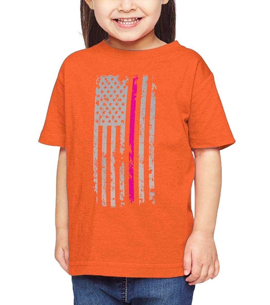 Pink Line Infant//Toddler Cotton Jersey T-Shirt HAASE UNLIMITED Silver American Flag