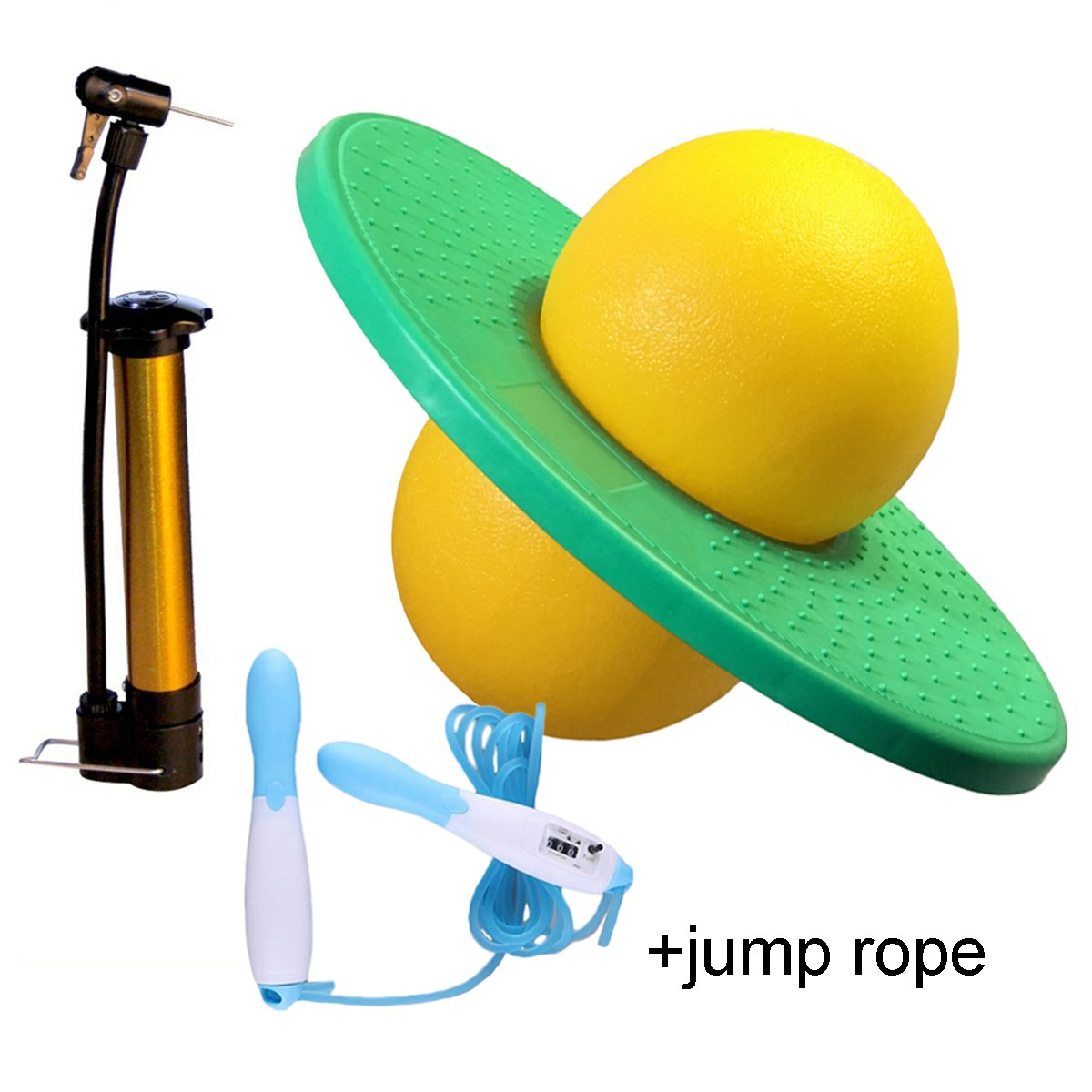 GreenMoon Pogo Ball with Large Pump Lolo Ball with Gift Bag and Instruction (Green&Yellow)(with Jump Rope)