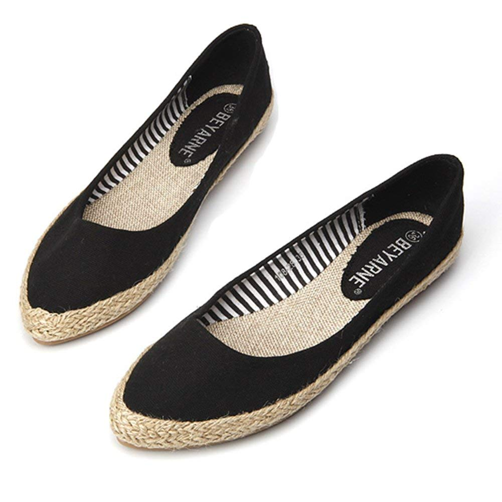 Womens Classic Ethnic Style Woven Slip On Flats Shoes
