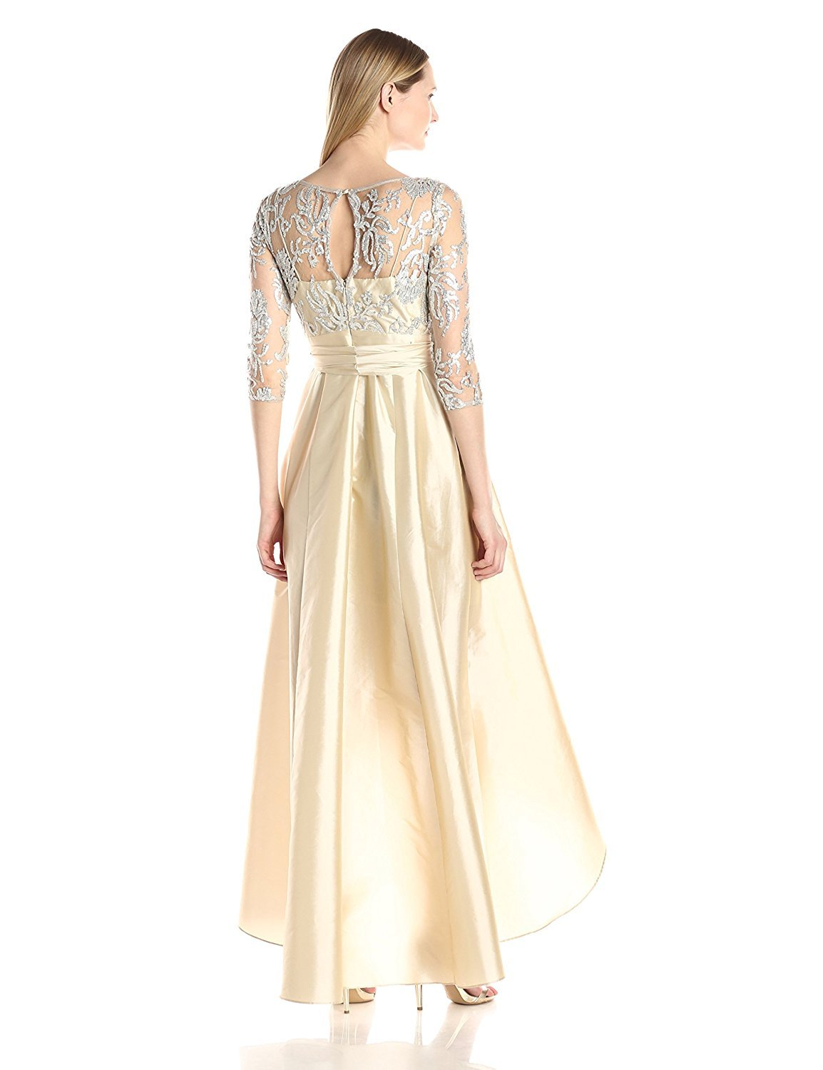 Adrianna Papell Women's Sequin Illusion High Low Gown With Taffeta Skirt, Champagne, 6