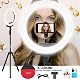 """ZOMEi Ring Light 16"""" /40.5cm Outer 3200-5600K Dimmable LED Ring Light, with Tripod and Phone Holder Carrying Bag for Camera,Smartphone,YouTube,Self-Portrait Shooting( Protect Eyes)"""