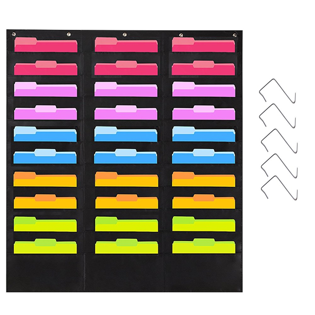 JOTOM 30 Pokets Storage Pocket Chart Bonus 5 Hangers Hooks Heavy Duty Hanging Wall File Organizer Folder for Office School Home Classroom