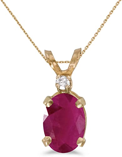"14k Yellow Gold Oval Ruby And Diamond Pendant with 18/"" Chain"