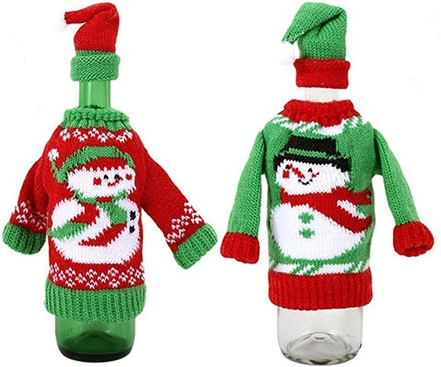 SIMUER 2pcs Christmas Wine Bottle Cover Bags Handmade Sweater Wine Bottle Bags Dress Toppers Sets for Christmas Party Table Decorations