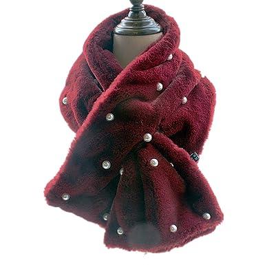 11ae9cf40eb3 Echarpe Foulard Peluche Bordeaux Femme Hiver Chaud Couleur Unie avec Perles  100x20cm