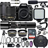 Nikon D7500 20.9 MP DSLR Camera Video Kit with AF-S 18-140mm VR Lens, AF-P 70-300mm ED VR Lens & 500mm Lens + LED Light + 32GB Memory + Filters + Macros + Deluxe Bag + Professional Accessories
