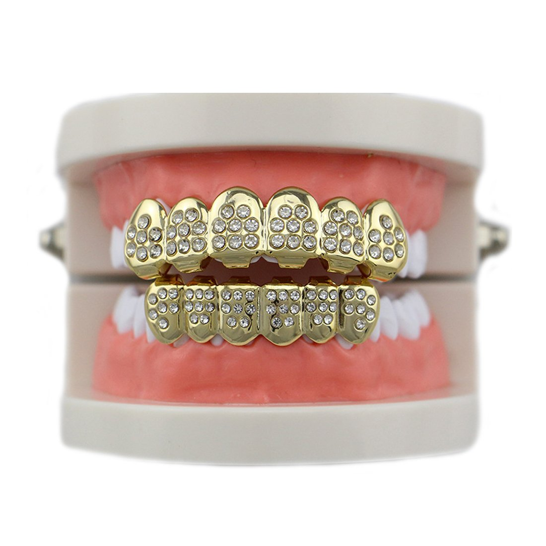 MTRSUE 18K Gold Plated CZ Vampire Hip Hop Teeth Bottom Grill Set YCP-P01