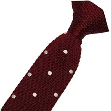 0c95911bc099 Image Unavailable. Image not available for. Color: D.berite Men's Maroon  White Polka Dot Knitted Tie Necktie Narrow Slim Skinny