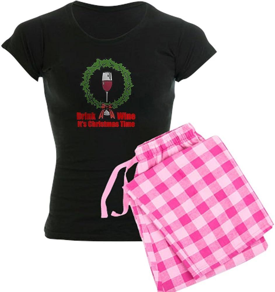 CafePress Christmas Wine Tme Pajamas Womens PJs
