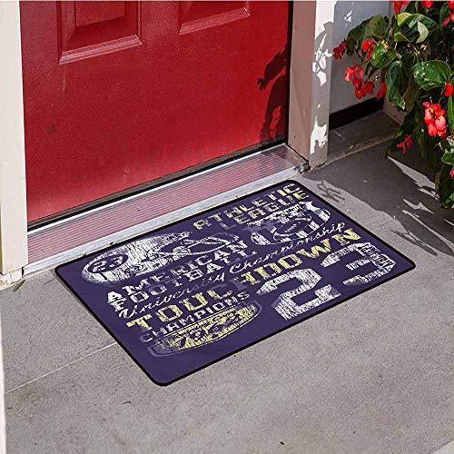 Jinguizi Sports Front Door mat Carpet Retro Style American Football College Theme Illustration Athletic Championship Apparel Machine Washable Door mat W29.5 x L39.4 Inch Purple ()