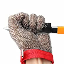 304L Stainless Steel Cut Resistant Gloves with Secure-Grip Steel Chain Mail Mesh and Level 5 Cut Protection Kitchen Food Grade Gloves Kitchen Butcher Working Safety Glove 1 Pcs (XS)