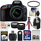 Nikon D5500 Digital SLR Camera & 18-55mm VR DX II Lens with 32GB Card + Backpack + Tripod + Tele/Wide Lens Kit (Certified Refurbished)