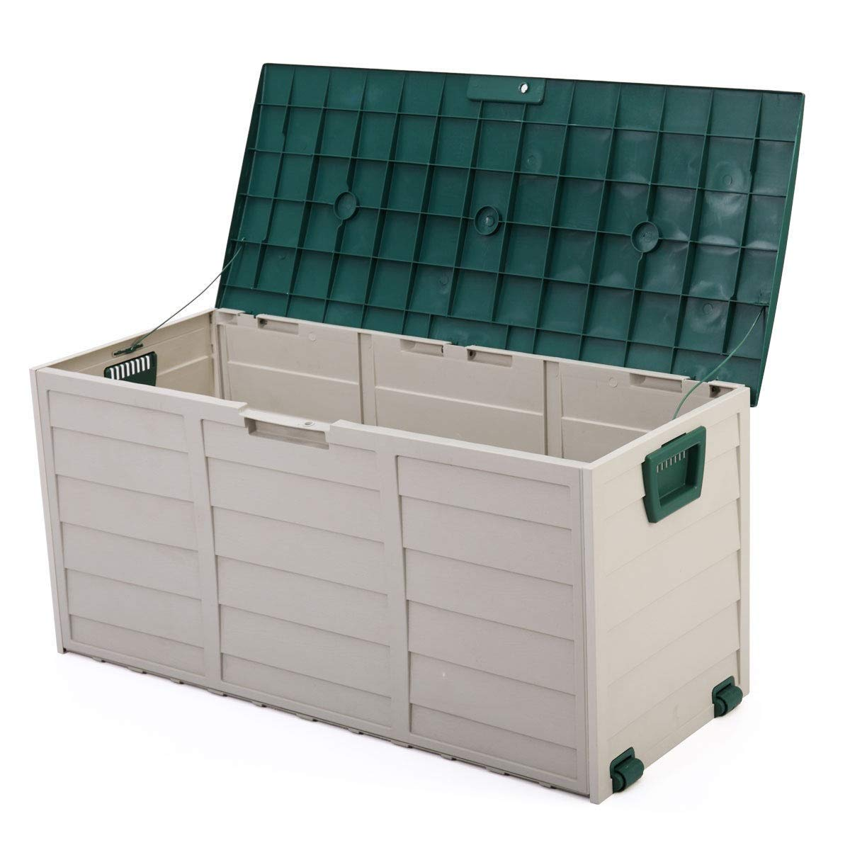 Cypressshop Patio Sheds Outdoor Garden Storage 44'' Deck Box Organiner Backyard Tool Bench Container 79 Gallon Green Gray Weartherproof