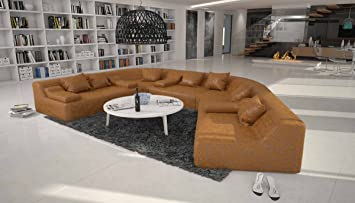 Salesfever Rund Sofa Mit Bezug Aus Hellbraunem Microfaser 410x272 Cm