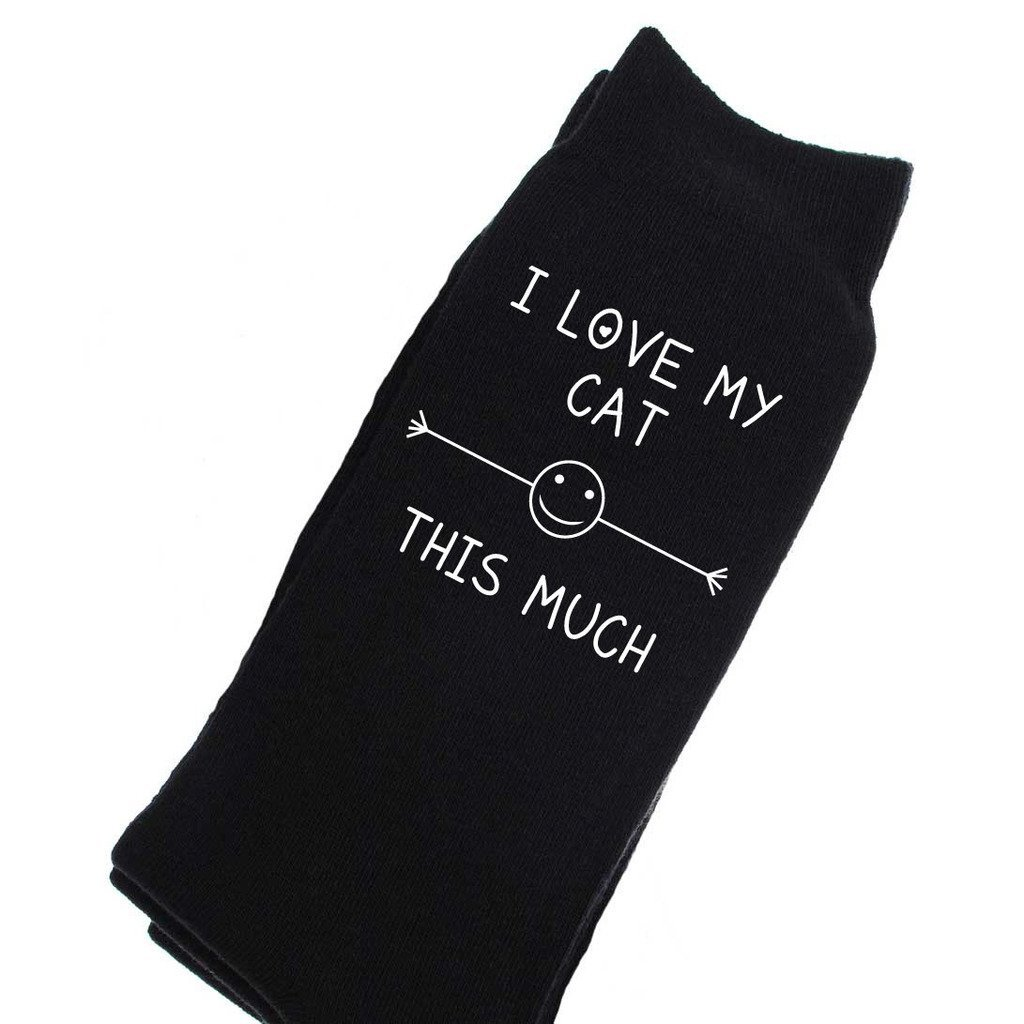 60 Second Makeover Limited Men's I Love My Cat This Much Calf Socks One Size Black