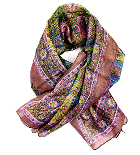Yapree Women's Handmade Silk Scarf with Paisley Floral Pattern :38