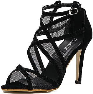 6ff5e87c7f9f Aisun Damen Mesh Cut Out Offene Zehen Riemchen Pfennigabsatz Sandale mit  Schnalle