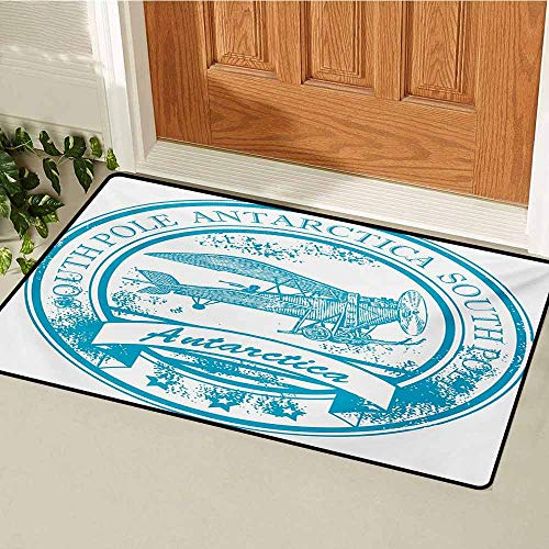 Vintage Airplane Welcome Door mat South Pole Antarctica Words on Retro Style Blue Stamp Grunge Airplane Door mat is odorless and Durable W15.7 x L23.6 Inch Sky Blue White