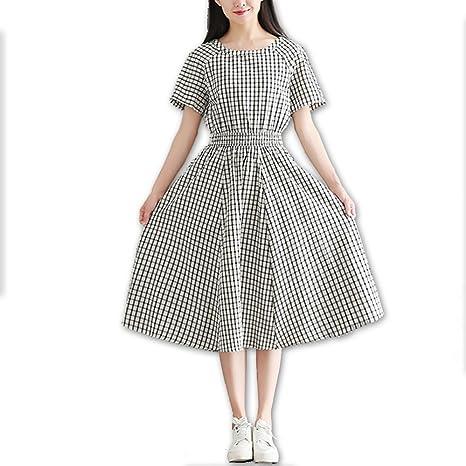 GZZ Vestido de algodón/Lino Suelto para Mujer/Banquete de Verano ...