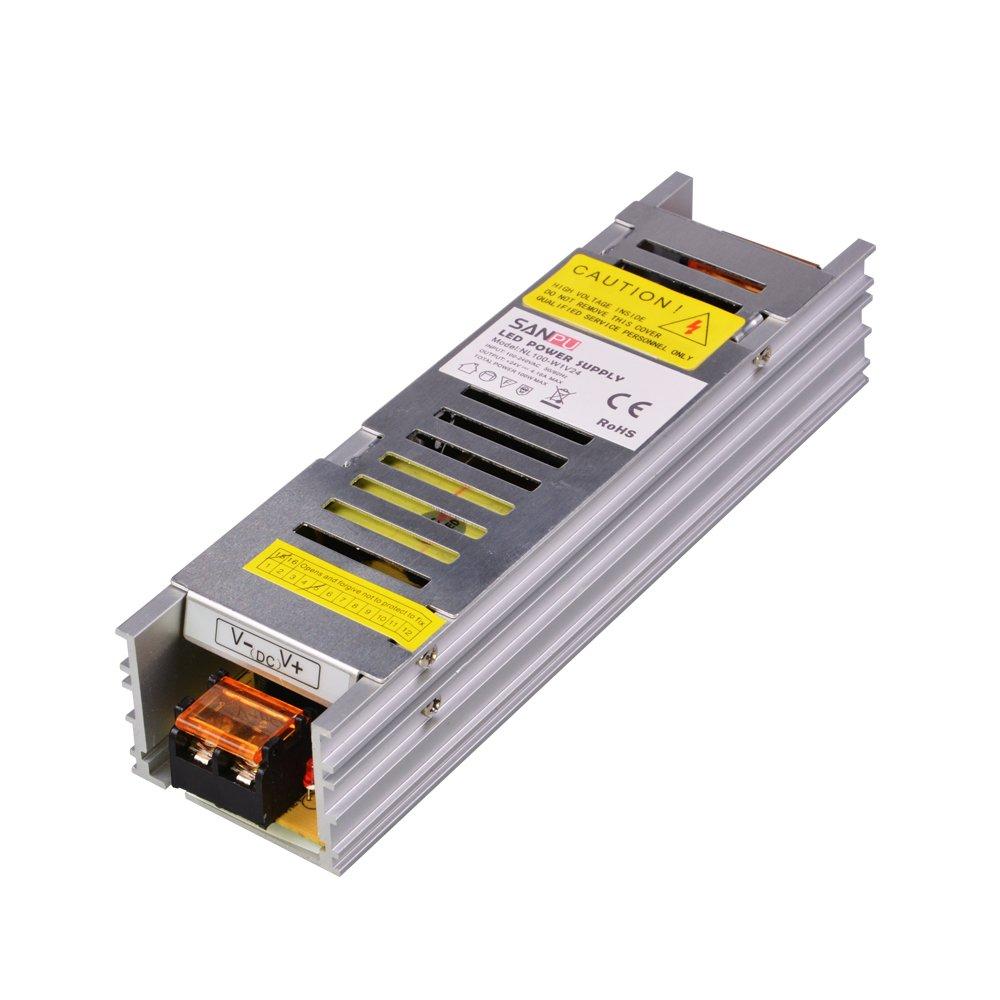 SMPS LED Power Supply 24vdc 100w 4a Constant Voltage Switching Driver 110v 120v ac-dc 24v Light Transformer Fanless Aluminum (SANPU NL100-W1V24)
