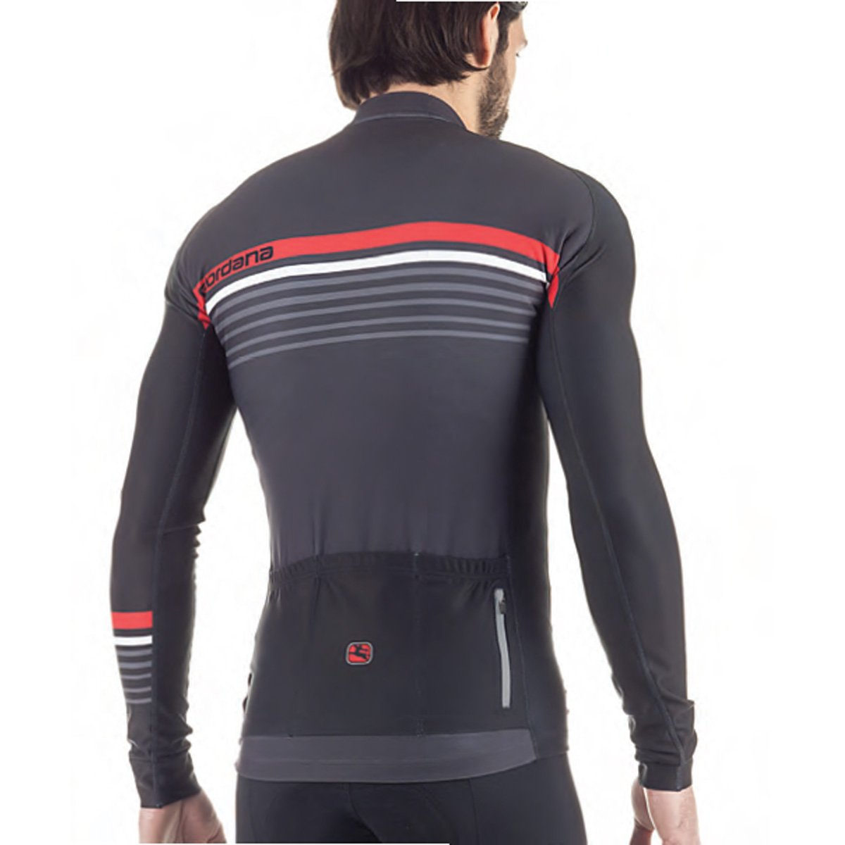 Giordana fr-c Sette長袖Jersey – Men 's B0761ZRSR5 Large|Black/Red/Grey Black/Red/Grey Large