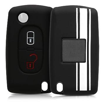 kwmobile Funda para Llave Plegable de 2 Botones para Coche Peugeot Citroen - Carcasa Protectora [Suave] de [Silicona] - Case de Mando de Auto con ...