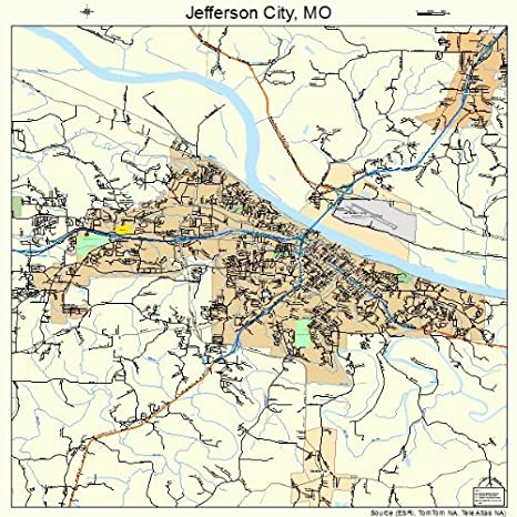Amazon.com: Large Street & Road Map of Jefferson City, Missouri MO ...