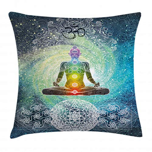 Ambesonne Yoga Throw Pillow Cushion Cover, Mandala Design Zen Meditation Hippie Style with Sign Chakra Art Print, Decorative Square Accent Pillow Case, 18 X 18 inches, Turquoise Dark Blue White