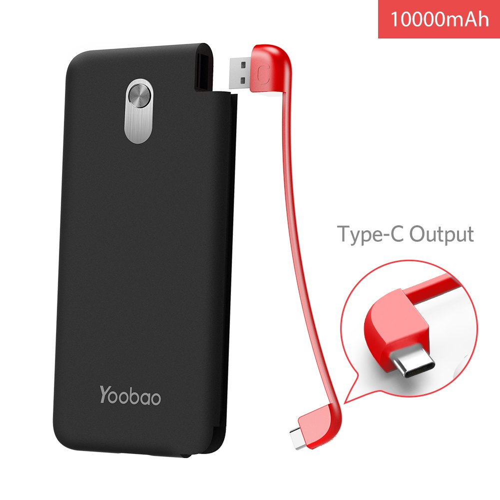 Portable Charger 10000mAh Yoobao Power Bank Built-in Pluggable USB C Cable Slim External Cell Phone Battery Backup Pack Compatible Android Smartphone Samsung Galaxy S9 Note LG Huawei etc - Black