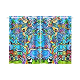 Unique Debora Customize Window Curtain Window Treatments for Kitchen Curtains 2 Pieces Styles for Tree Of Life, Cute Animals
