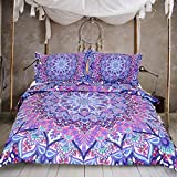 Sleepwish Pink and Purple Glowing Mandala Duvet Cover With Pillowcases 3pcs Super Soft Boho Comforter Cover Mandala Quilt Cover (Queen)