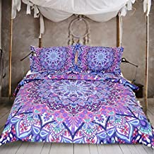 Sleepwish Pink and Purple Glowing Mandala Duvet Cover With Pillowcases 3pcs Super Soft Boho Comforter Cover Mandala Quilt Cover (Twin)